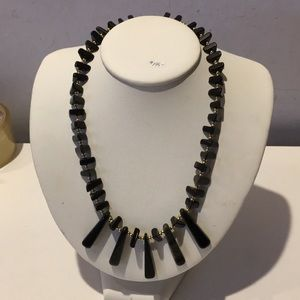 Jewelry - Vintage genuine onyx necklace with gold tone beads